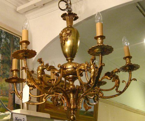 victorian brass chandelier with griffins. antique photo - Victorian Brass Chandelier With Griffins 203838