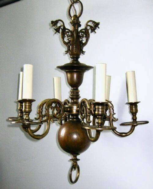 victorian heavy bronze six arm chandelier