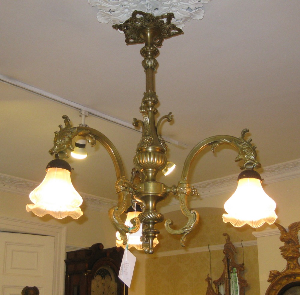 late victorian gas chandelier with dragons - Late Victorian Gas Chandelier With Dragons 239083