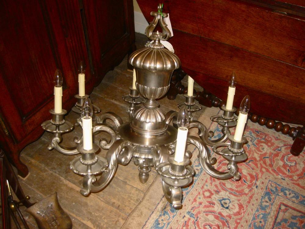 large victorian pewter chandelier - Large Victorian Pewter Chandelier 170261 Sellingantiques.co.uk