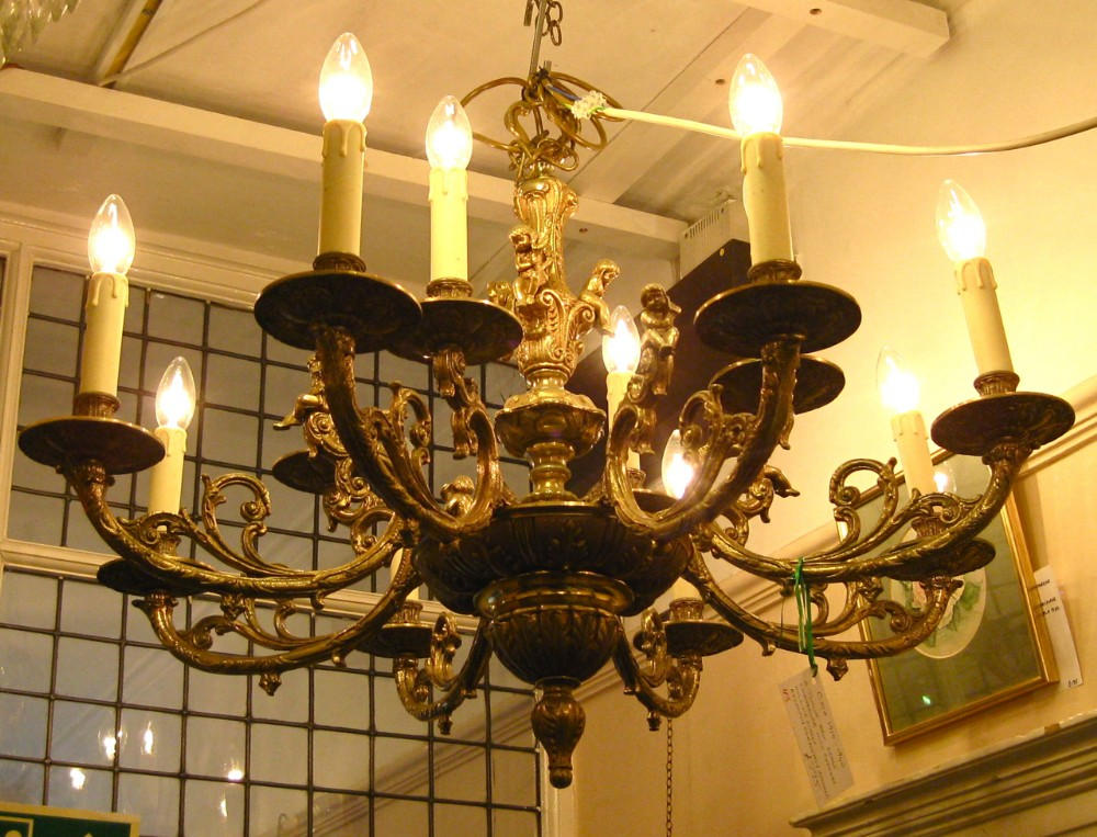 a brass chandelier with cherubs - A Brass Chandelier With Cherubs 287245 Sellingantiques.co.uk