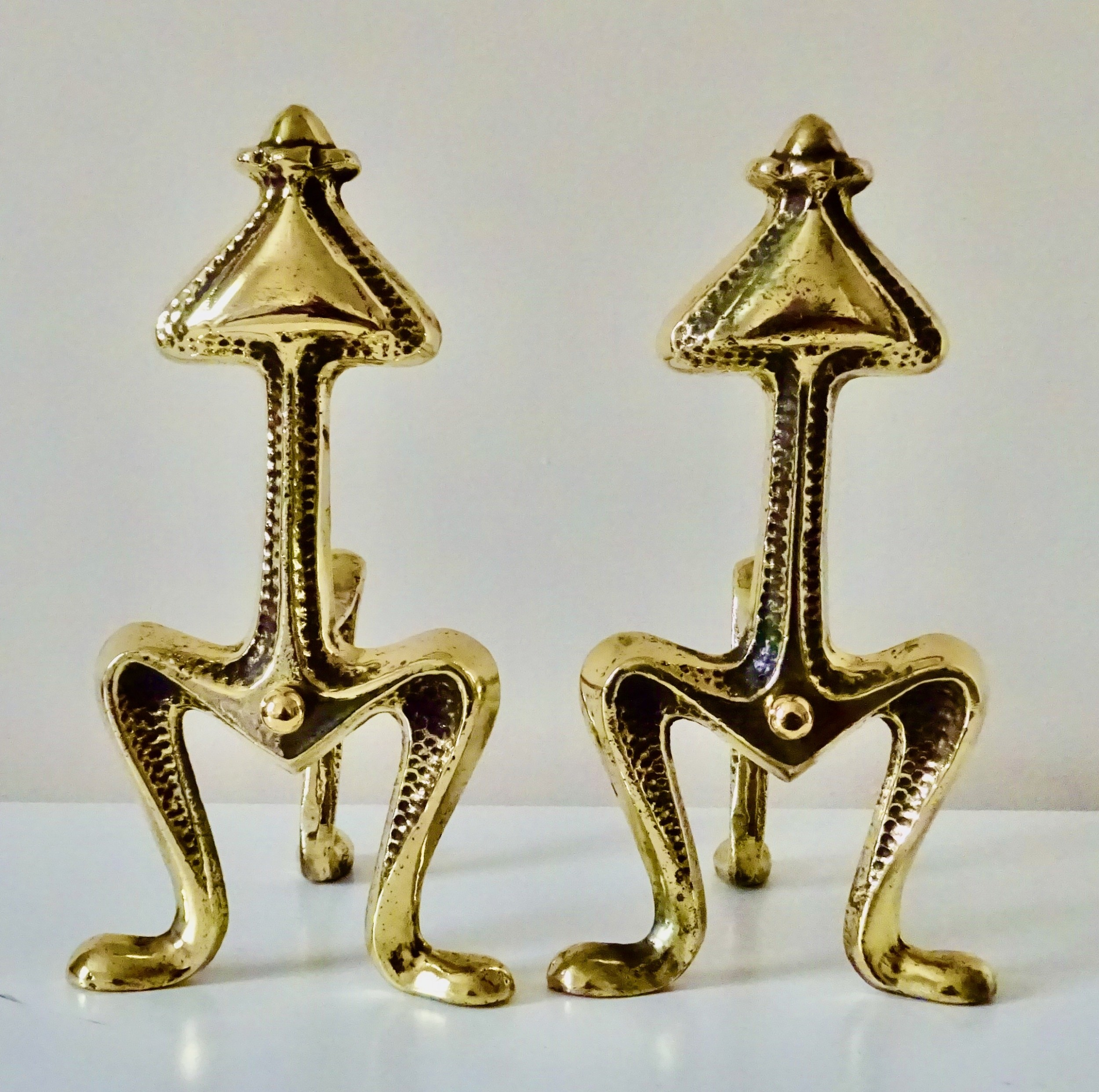 pair heavy brass victorian fire dogs