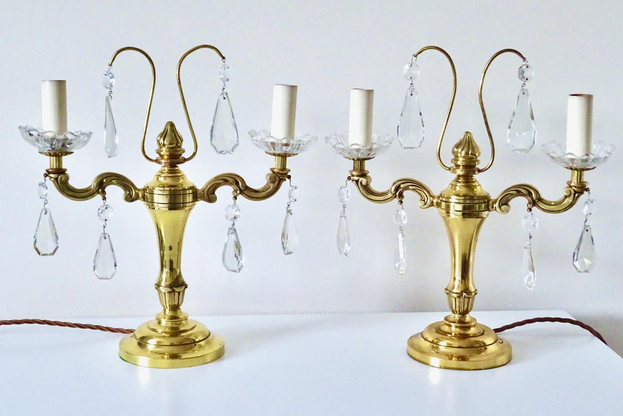 pair edwardian double arm brass lamps