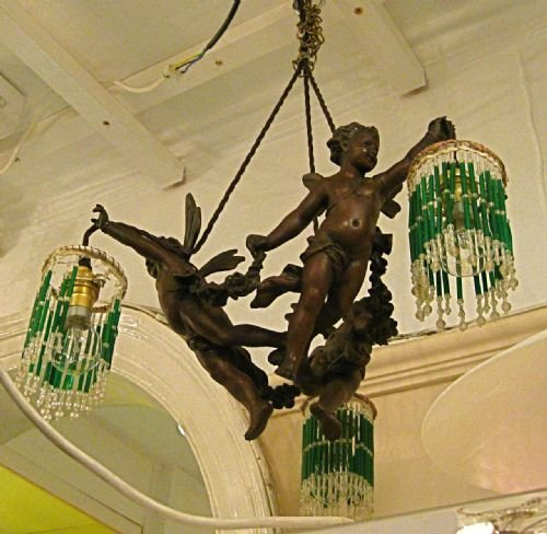 Original Bronze Quot Flying Cherub Quot Chandelier 161666