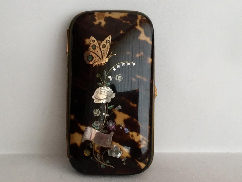 a fine victorian tortoiseshell pique lady's case inlaid with gold and silver