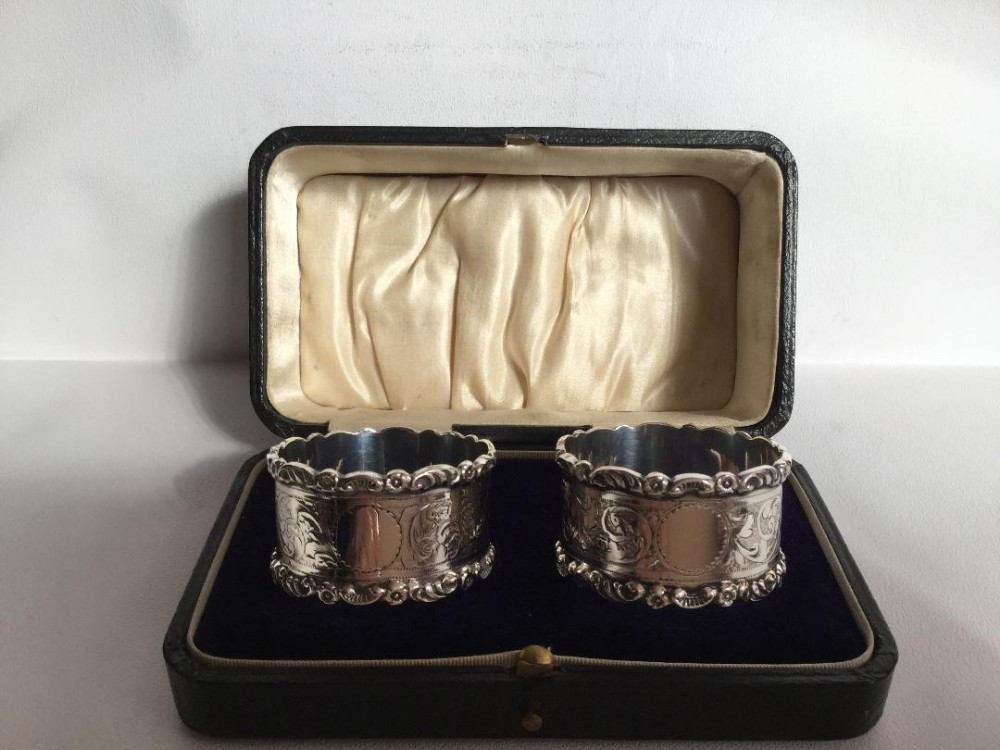 a quality pair of edwardian silver napkin rings