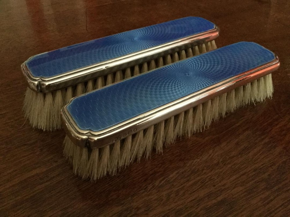 a lovely pair of silver and guilloche clothes brushes william comyns 1947