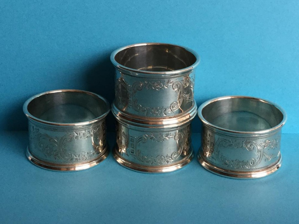 an immaculate set of four silver napkin rings 1918