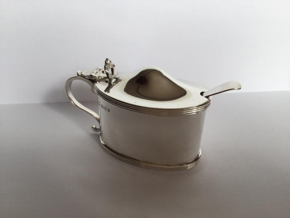 large fine quality george v silver mustard pot and spoon