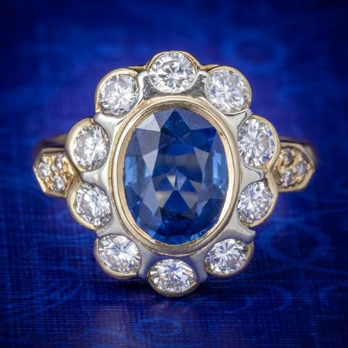 vintage french sapphire diamond cluster ring 18ct gold 380ct sapphire
