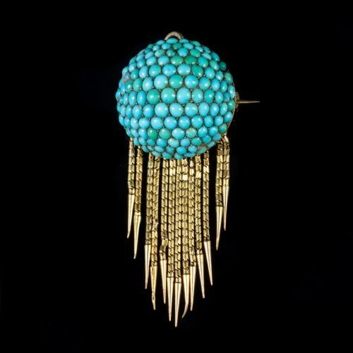 antique victorian etruscan turquoise tassel brooch pendant 18ct gold
