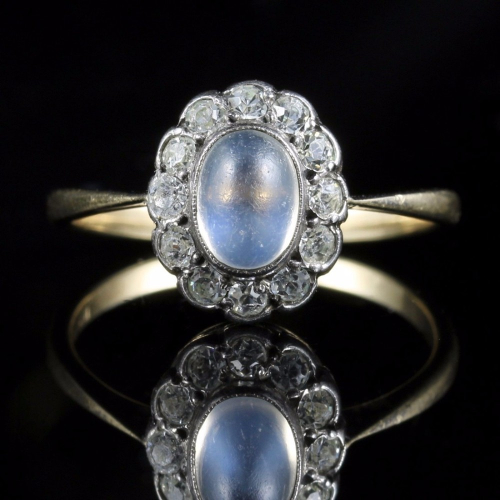 antique victorian moonstone and paste ring 442089