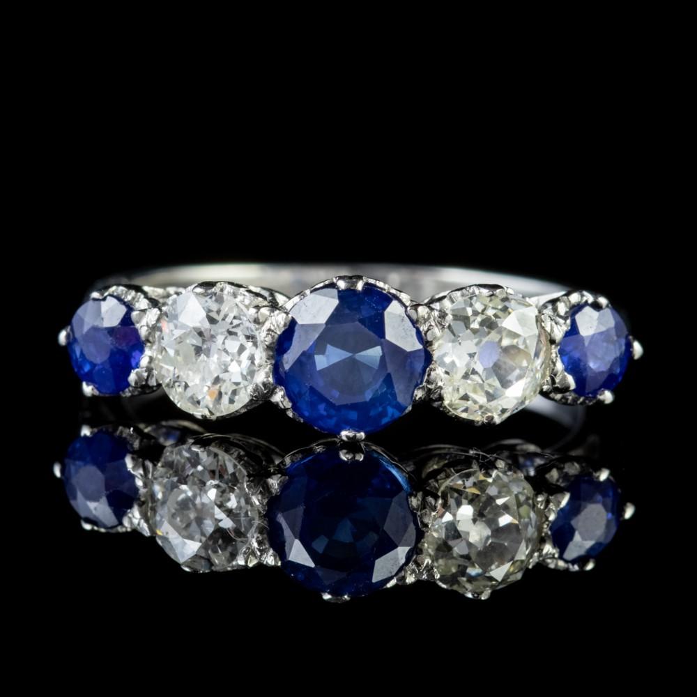 antique edwardian sapphire diamond five stone ring platinum