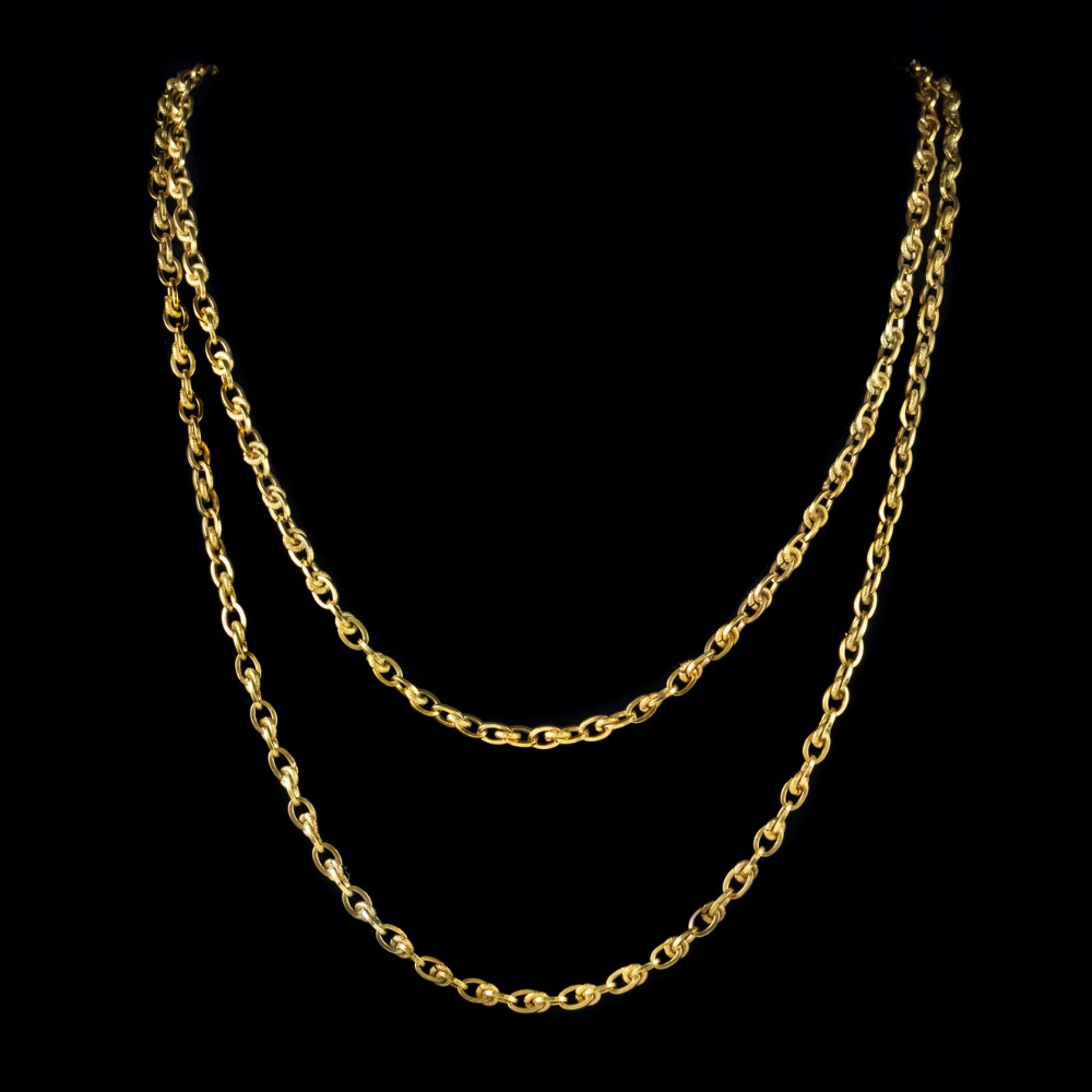 antique french 18ct gold on silver guard link chain victorian circa 1900