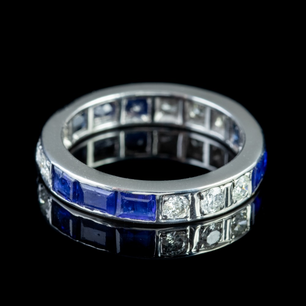 art deco sapphire diamond full eternity ring platinum circa 1920