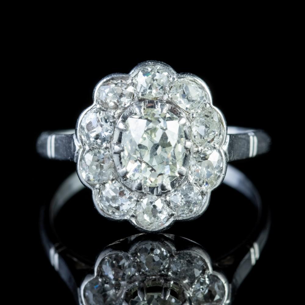 vintage 190ct diamond cluster ring 18ct white gold circa 1925