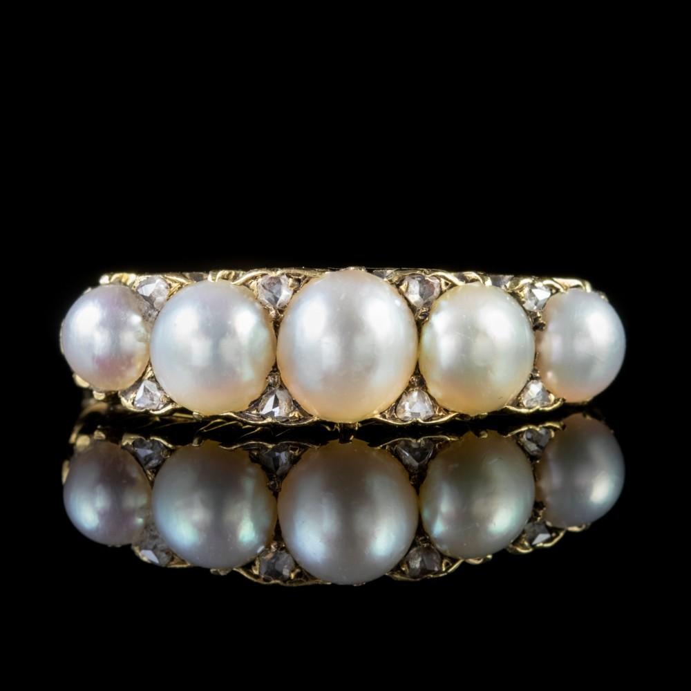 antique victorian pearl diamond ring 18ct gold circa 1870