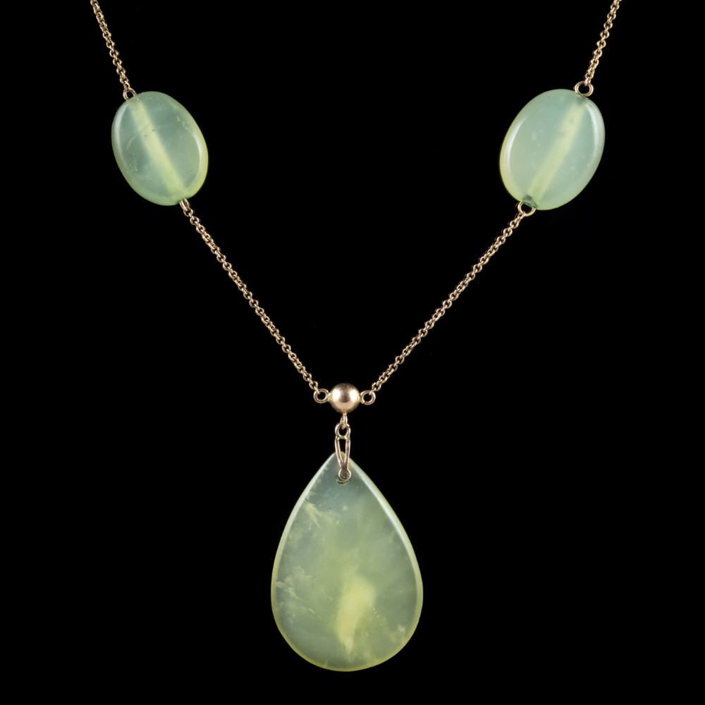 antique victorian jade pendant necklace 9ct gold sautoir chain circa 1900
