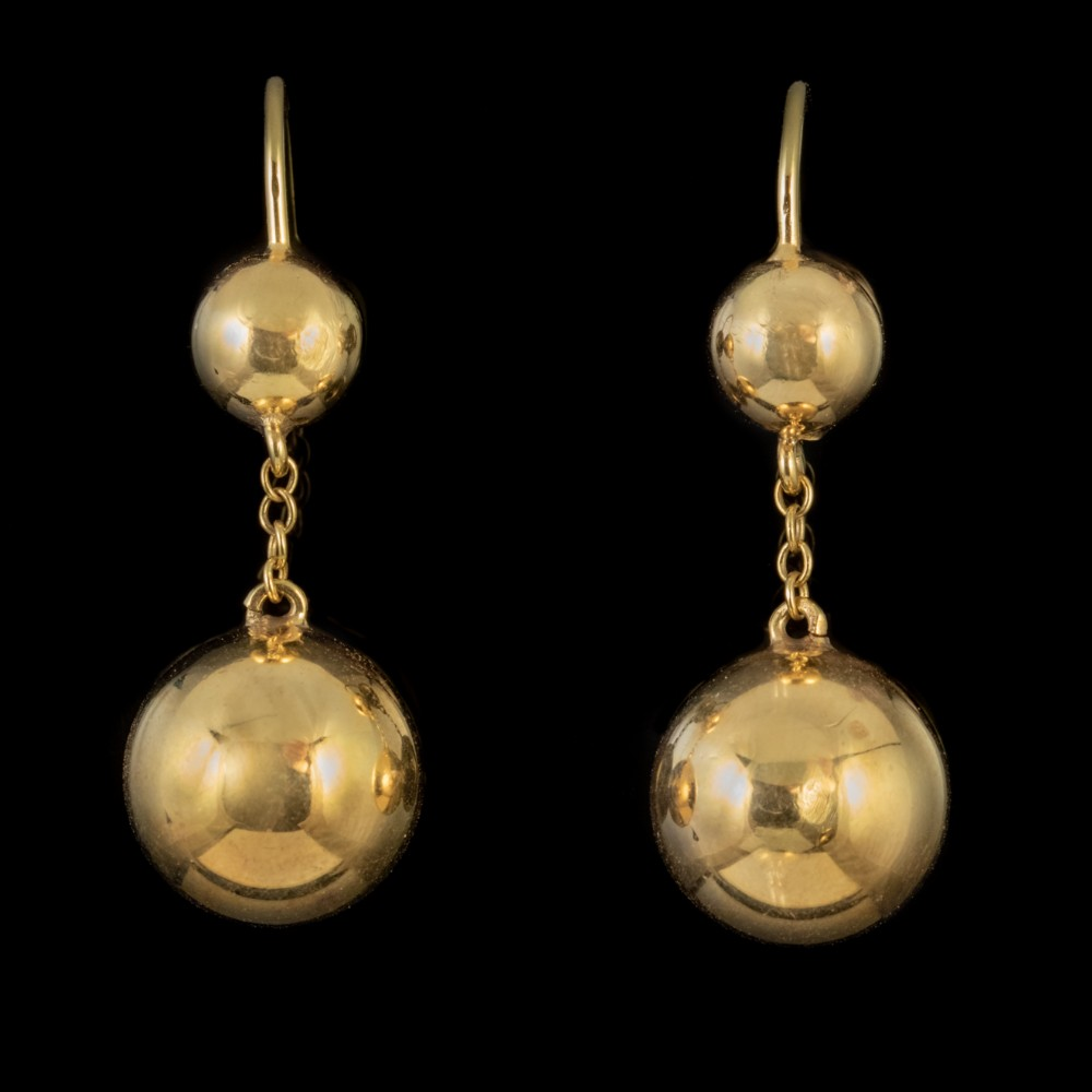 antique victorian gold earrings 9ct gold ball droppers circa 1880