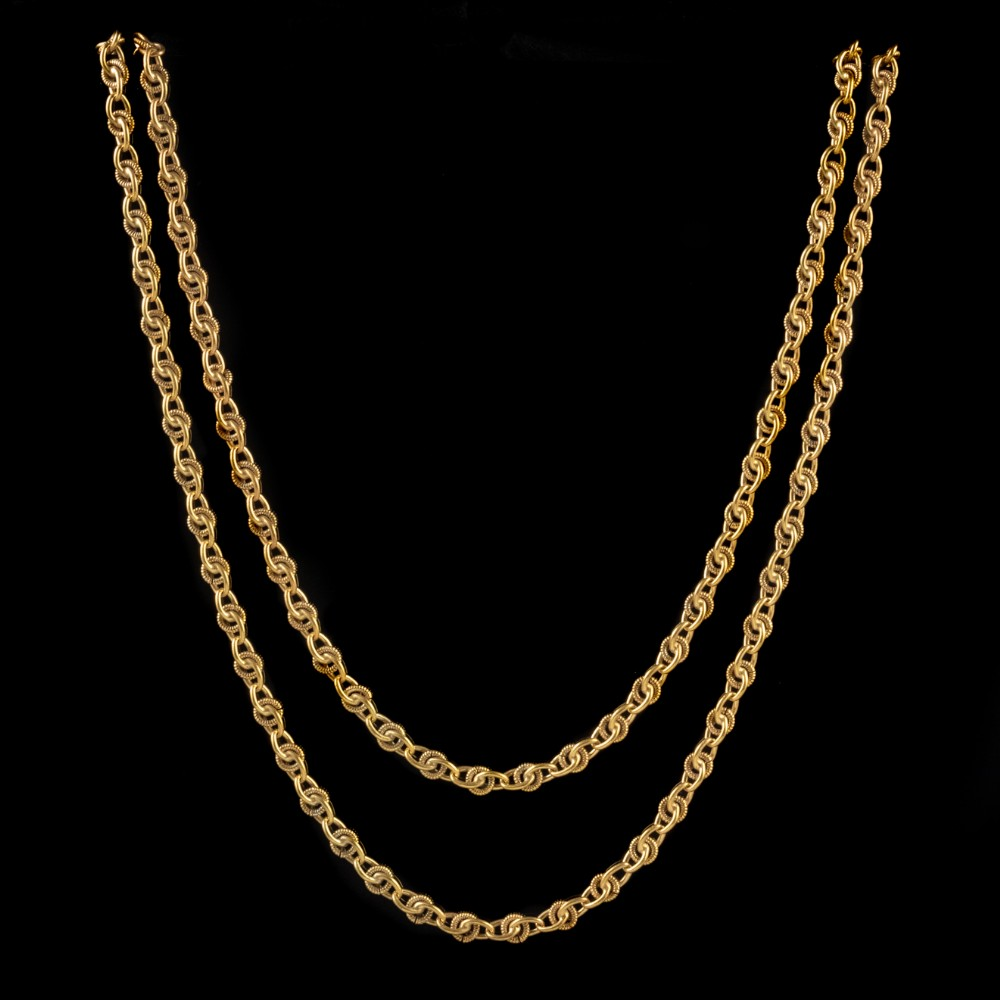 antique french guard chain 18ct gold on silver link necklace circa 1900