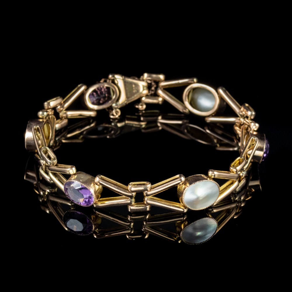 antique edwardian bracelet amethyst blister pearl solid 9ct gold circa 1910