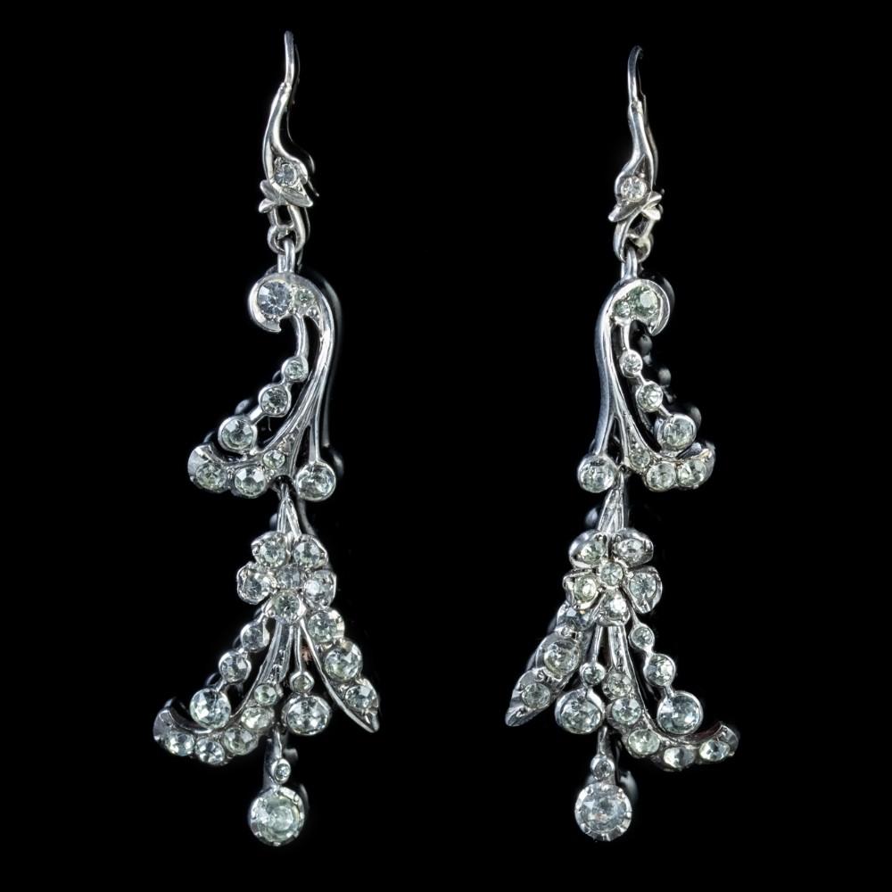 antique victorian long silver paste earrings circa 1900
