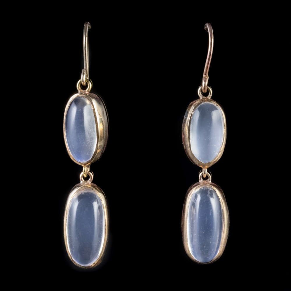 antique victorian moonstone earrings 15ct gold circa 1900