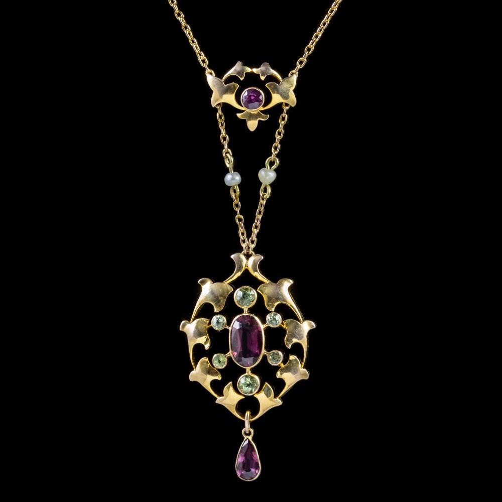 antique edwardian suffragette pendant necklace garnet 15ct gold circa 1910