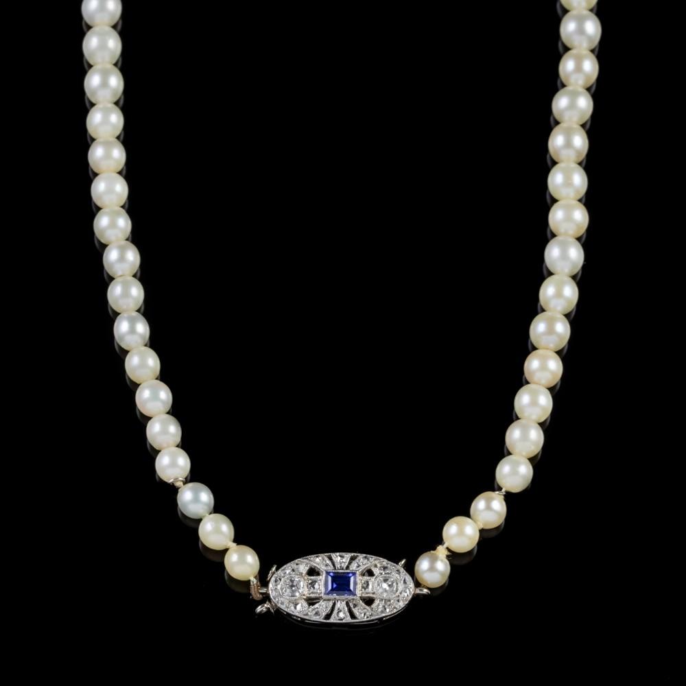 art deco pearl necklace sapphire diamond platinum clasp circa 1930
