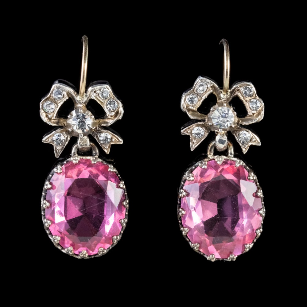 antique edwardian pink and white paste gold silver earrings bow tops circa 1910