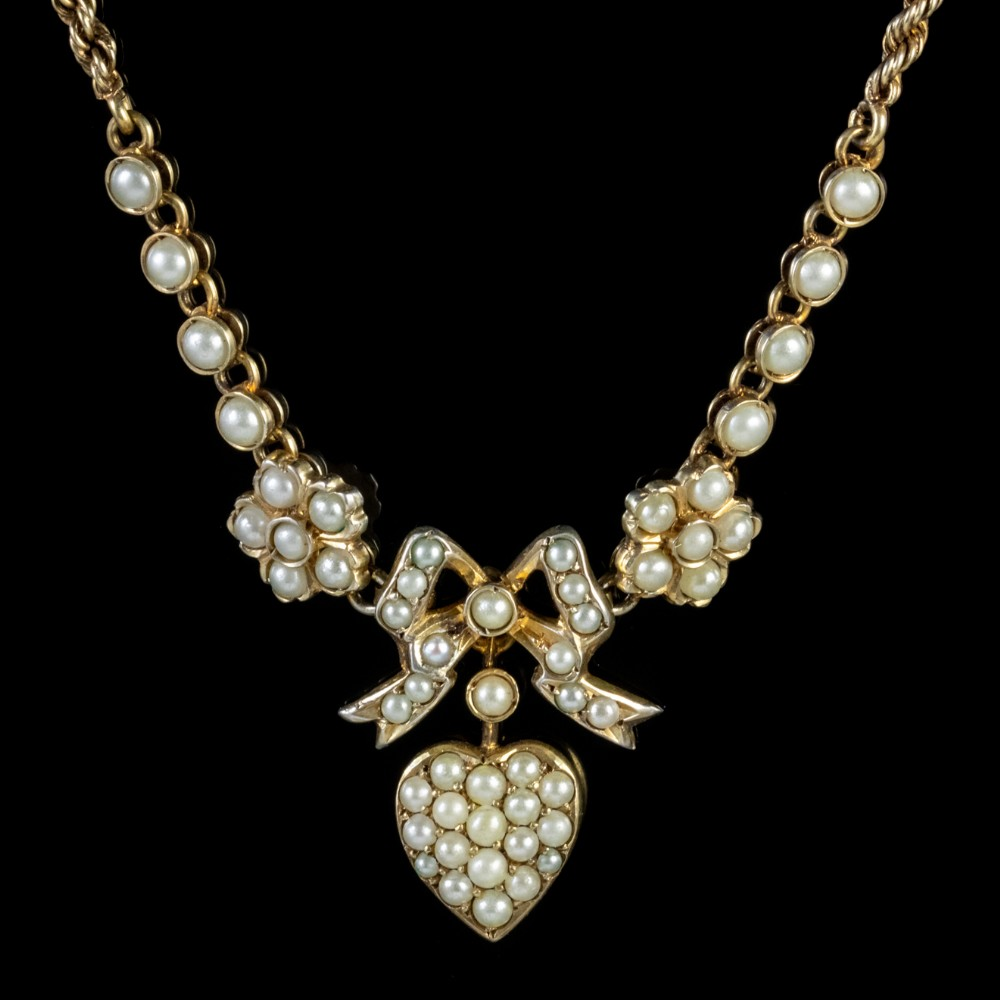 antique edwardian pearl heart necklace silver 15ct gold circa 1910