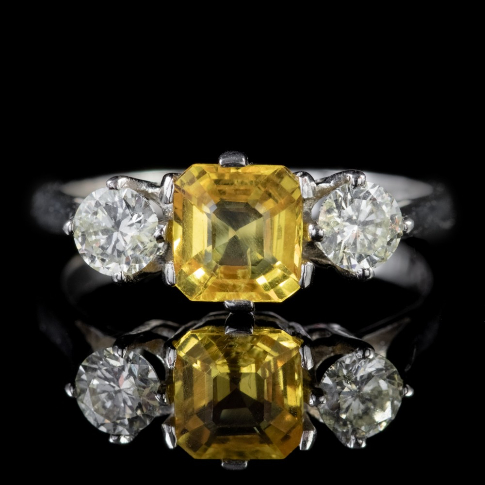 antique edwardian yellow sapphire diamond trilogy ring platinum circa 1915
