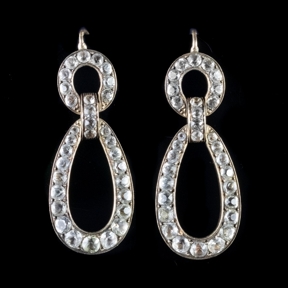 antique victorian paste drop earrings french 18ct gold silver circa 1840