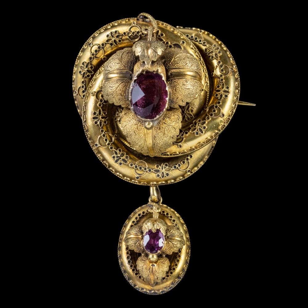 antique victorian lovers knot brooch amethyst 15ct gold locket circa 1880
