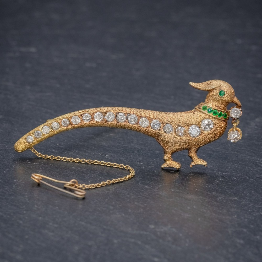 antique edwardian pheasant brooch diamond emerald 18ct gold circa 1910