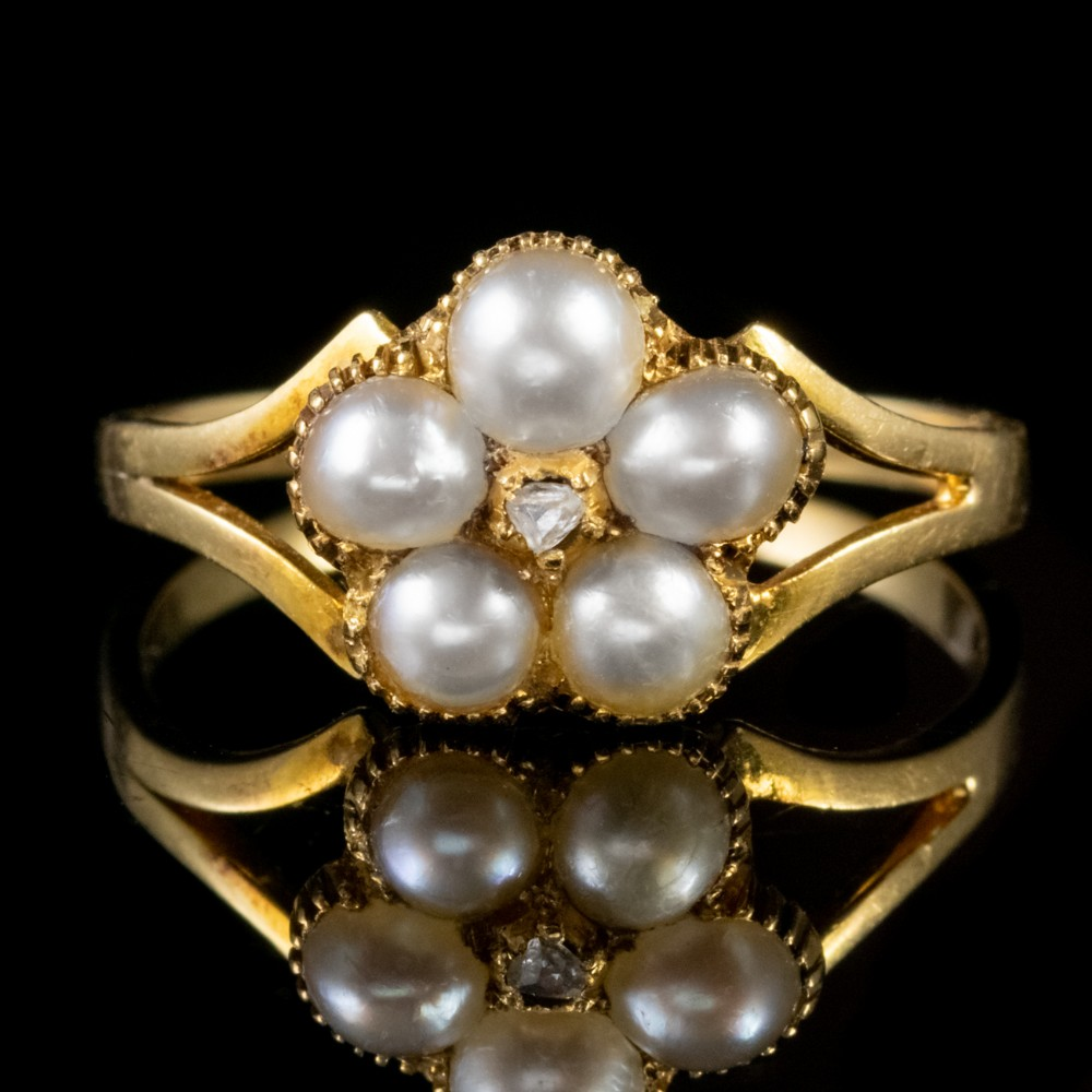 antique victorian pearl diamond ring 18ct gold locket back circa 1880