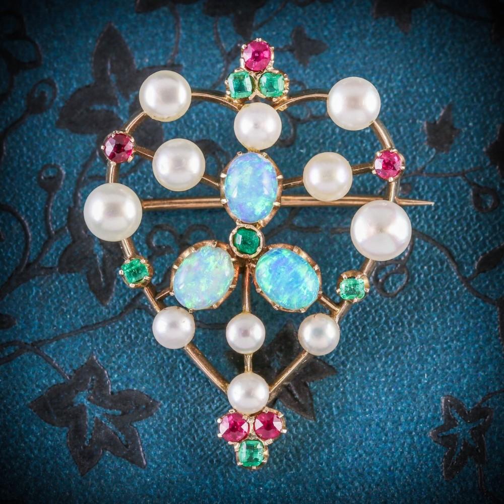 antique victorian brooch emerald ruby pearl opal 18ct gold circa 1900