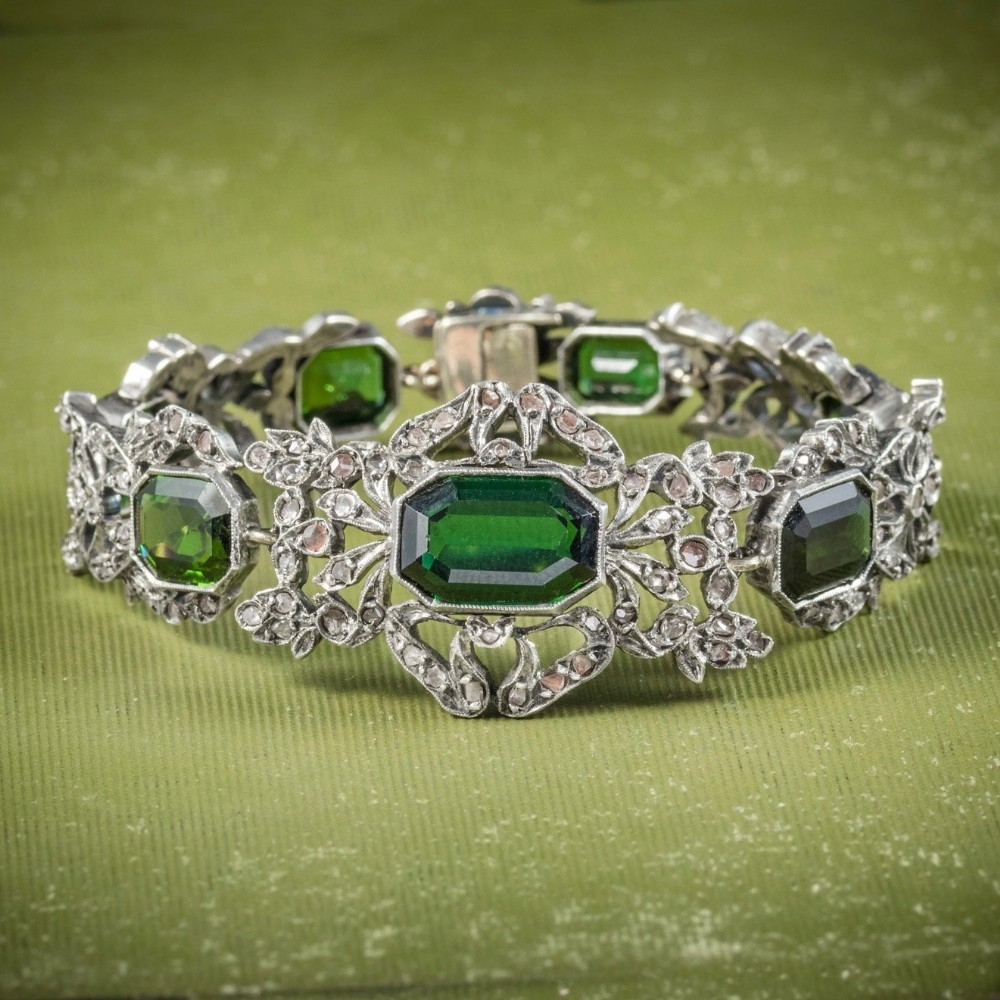 antique edwardian green tourmaline bracelet silver circa 1910