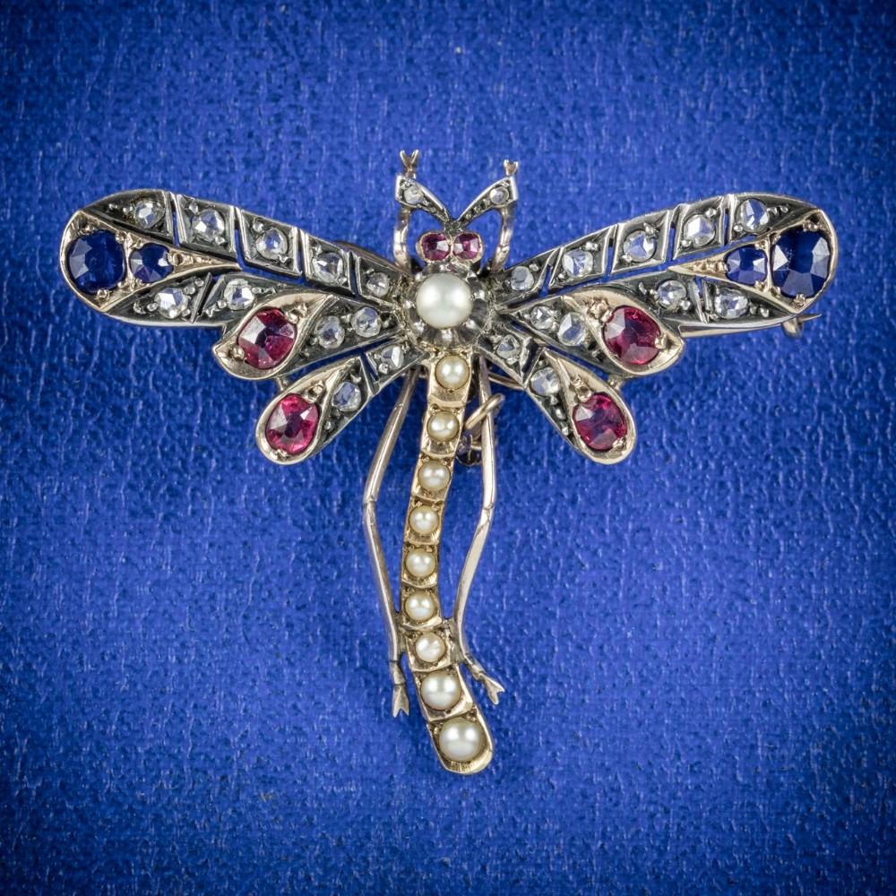 antique victorian dragonfly brooch diamond sapphire ruby pearl circa 1900