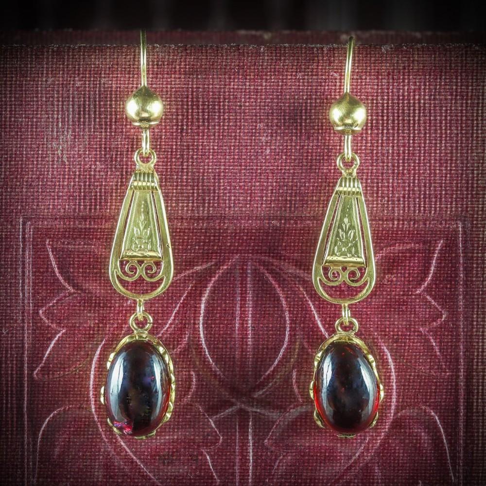 antique georgian garnet earrings 18ct gold circa 1800