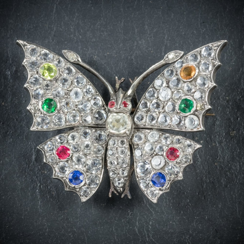 antique victorian paste butterfly brooch silver circa 1900