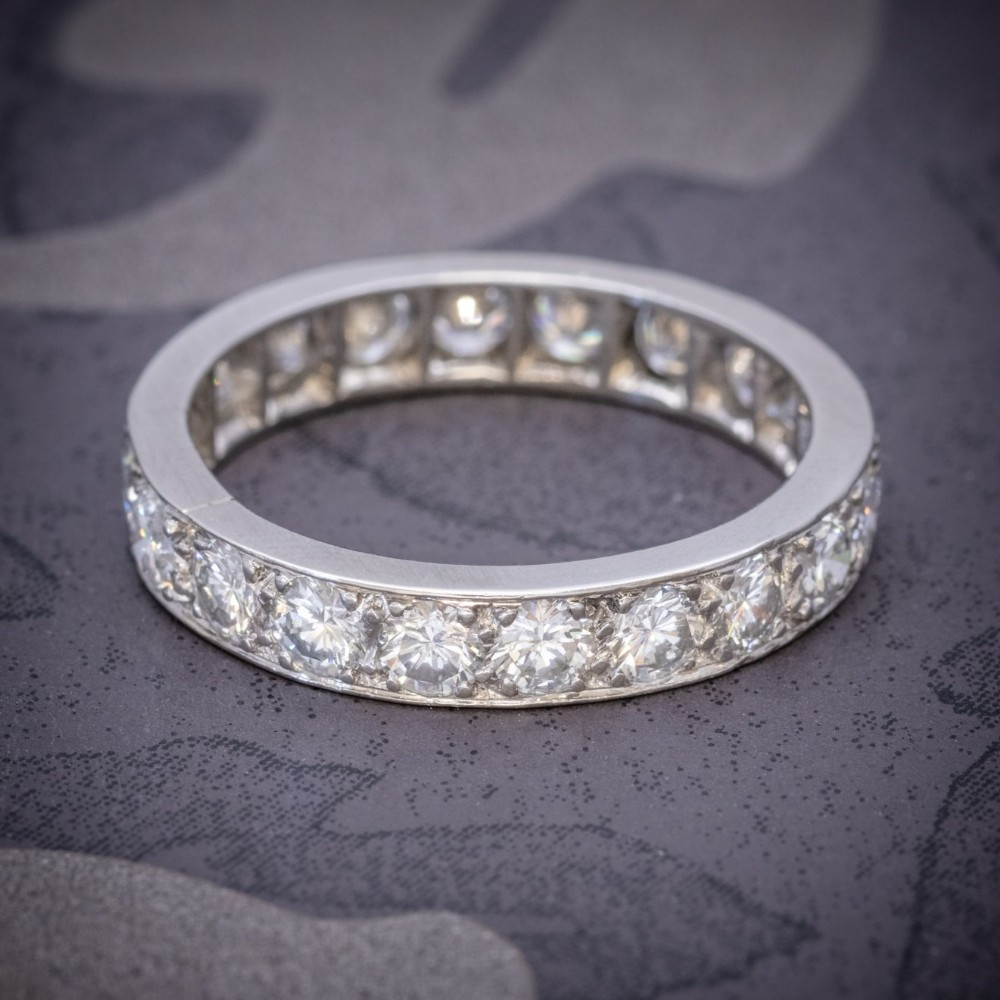 vintage full diamond eternity ring 18ct white gold circa 1920
