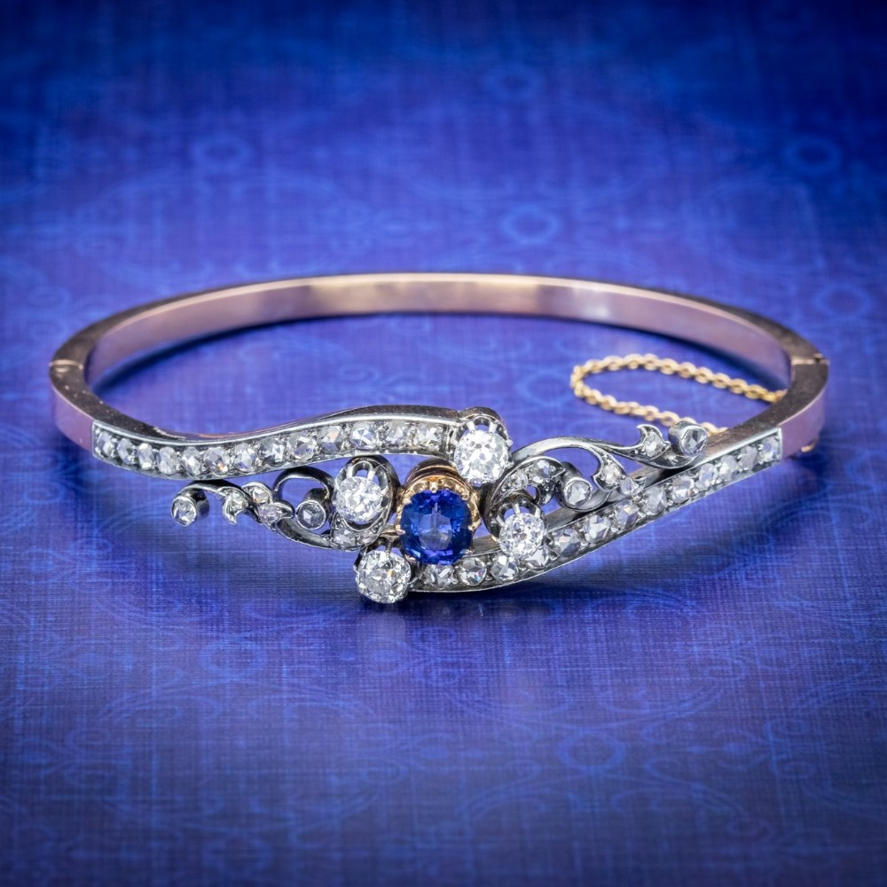antique french sapphire diamond bangle 18ct gold circa 1910 boxed