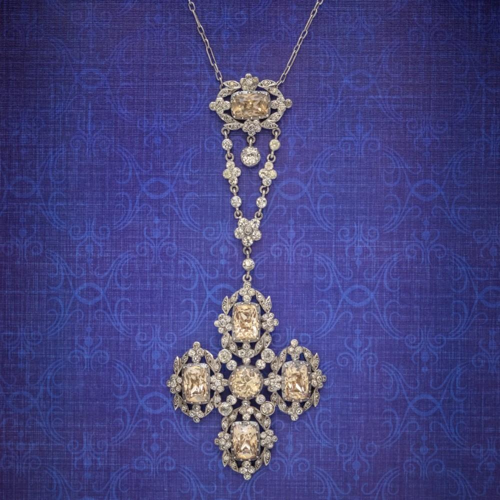 antique georgian yellow paste lavaliere pendant necklace silver circa 1800