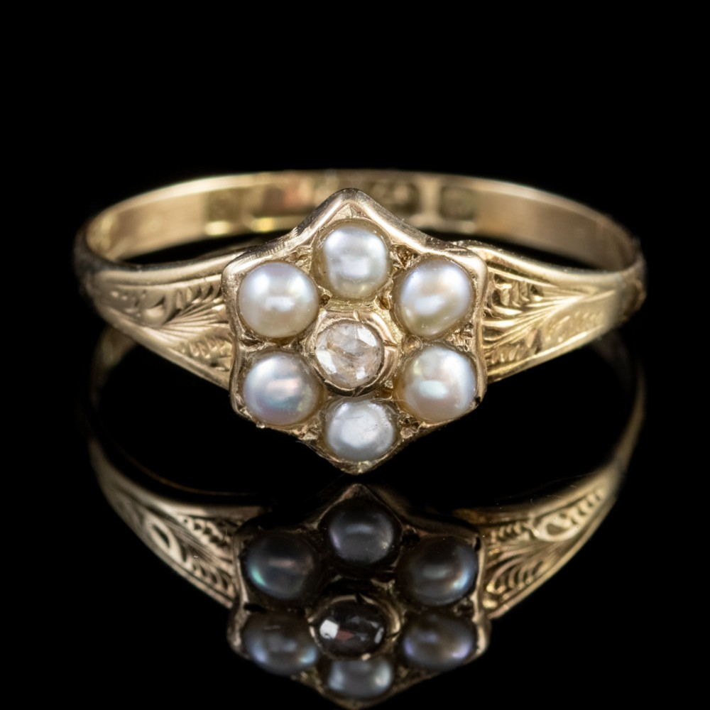 antique victorian pearl diamond locket ring 9ct gold dated 1848