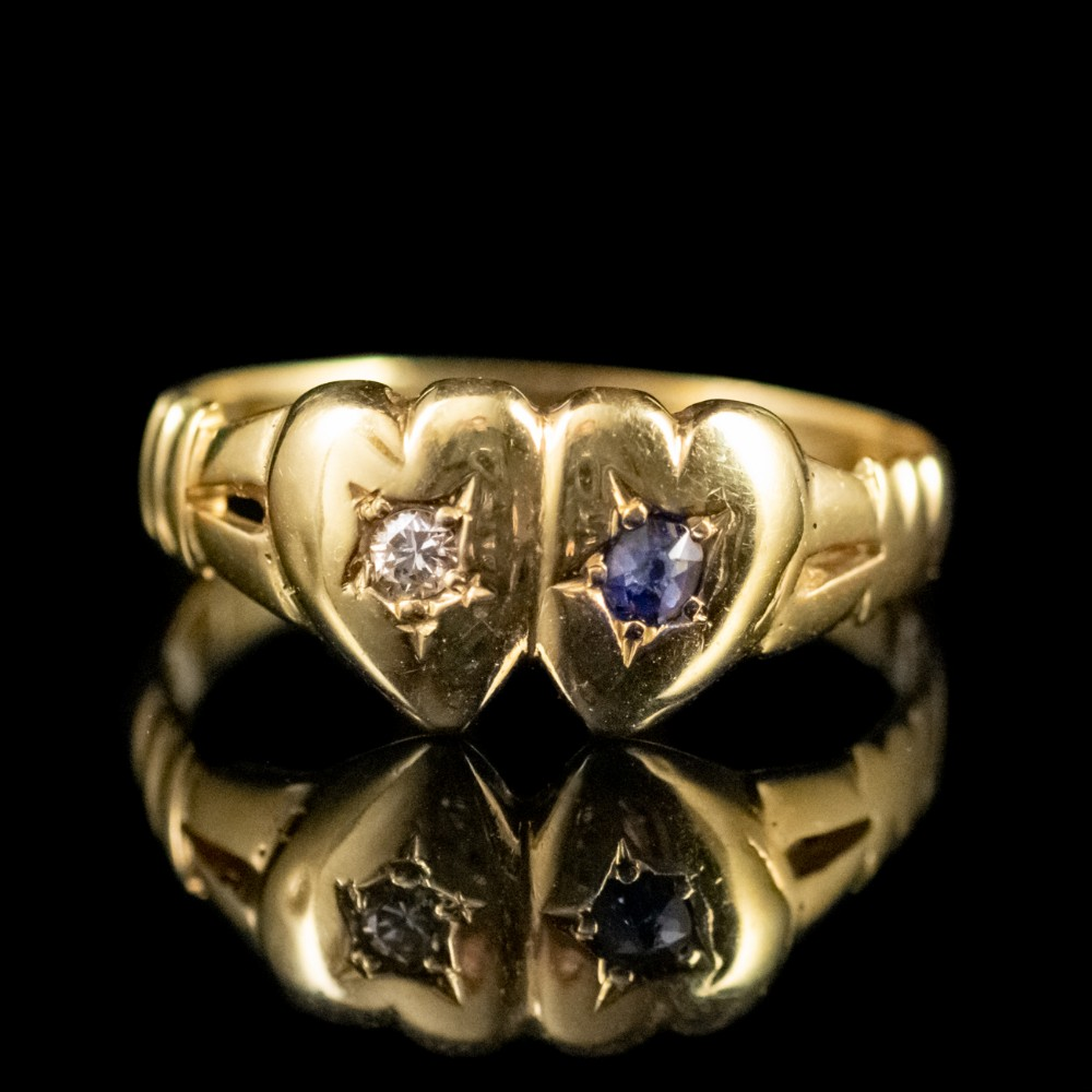 victorian sapphire diamond double heart ring 18ct gold dated 1897