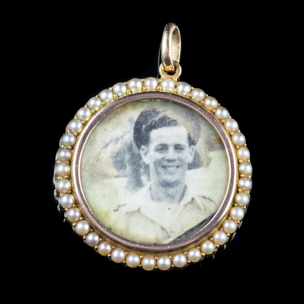 antique victorian pearl double side photo locket pendant 15ct gold
