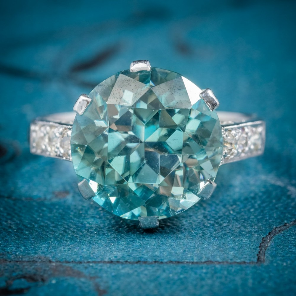 art deco blue zircon ring 18ct white gold 5ct zircon circa 1920