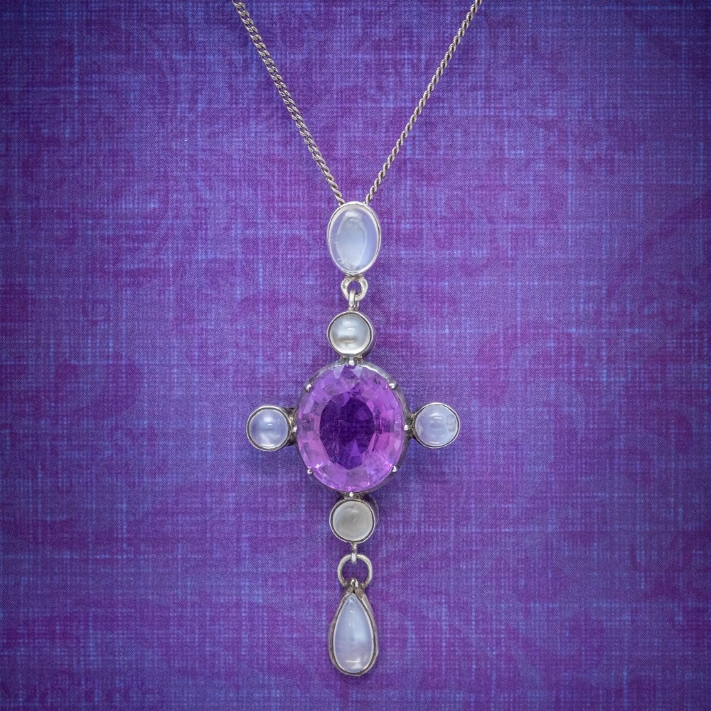 antique edwardian moonstone amethyst pendant necklace silver circa 1910