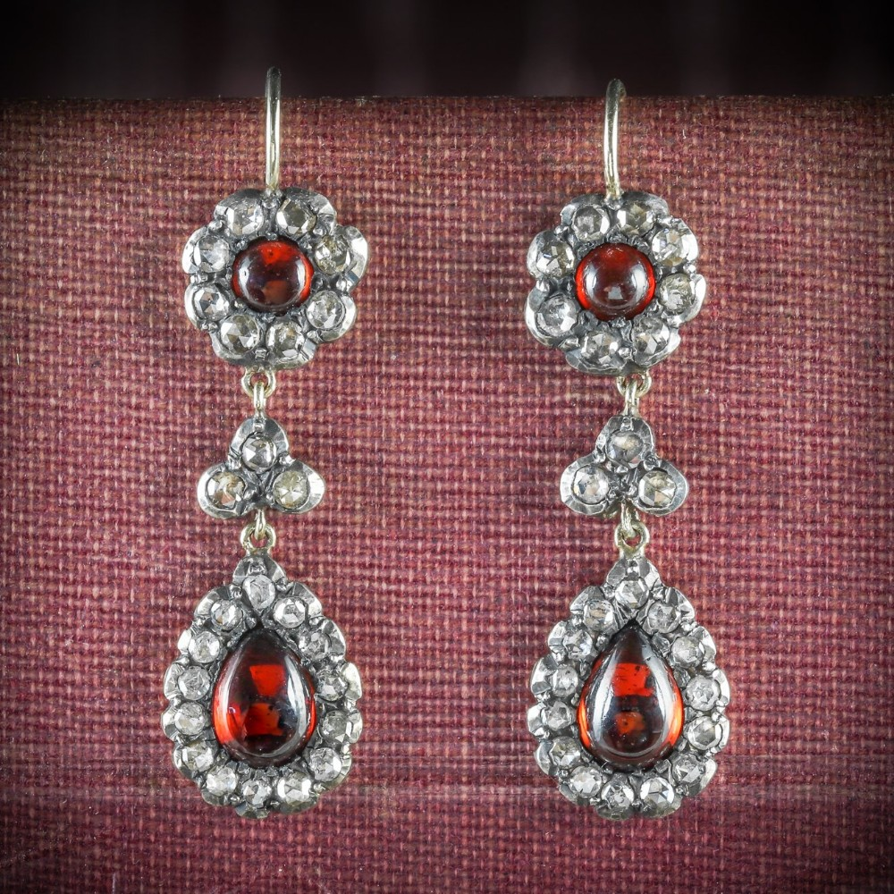 georgian garnet diamond drop earrings